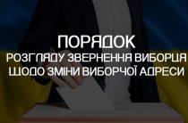 """ПОРЯДОК розгляду звернення виборця щодо зміни виборчої адреси відповідно до частини третьої статті 8 Закону України """"Про Державний реєстр виборців"""""""